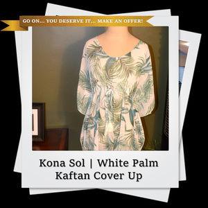 EUC | Kona Sol MidLength Kaftan CoverUp White Palm